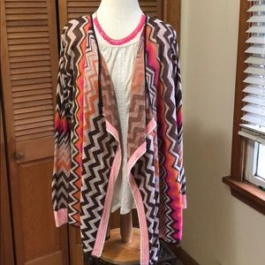 Plus chevron multicolor stripe cardigan open front
